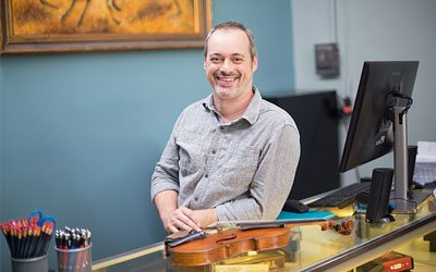 Photo of Steve, one of our owners who taught orchestra for years in the Parkway and Rockwood school districts. Steve can assist with your viola rental.