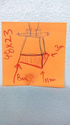 Picture 3: Photo of Ted's measurement diagram for custom fitting Deuce bridge.