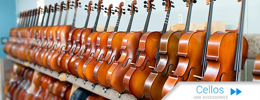 Photo showing some of the cellos available from Top Notch Violin Store in St. Louis