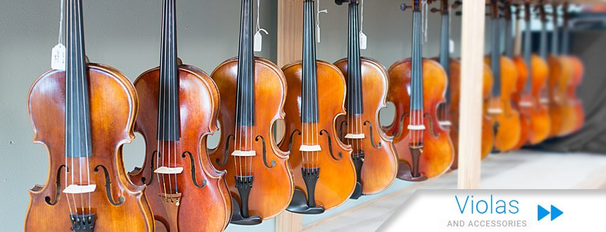 Photo showing some of the violas available from Top Notch Violin Store in St. Louis