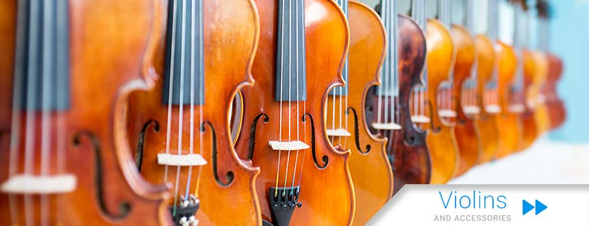 Photo showing some of the violins available from Top Notch Violin Store in St. Louis